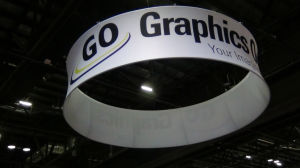 Round Exhibition Sign Tension Fabric Hanging Banner Stand (GC-RC) pictures & photos