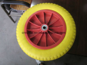Hot Sell Good Quality Plastic Rim Yellow Color PU Form Wheel (3.50-8) pictures & photos