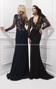 V-Neck Sexy Formal Gowns Lace Black Evening Fashion Dresses Z1023 pictures & photos