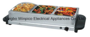 3 Plate Stainless-Steel Buffer Serving and Warming Tray