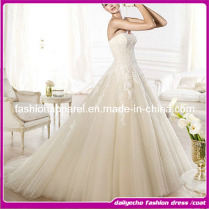 2015 Handmaid White Lace Wedding Dress. Princess Bridesmaid Dresses 2014 (TX10710)