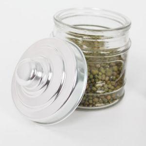 800ml Embossed Food Storage Glass Jar with Metal Lid pictures & photos