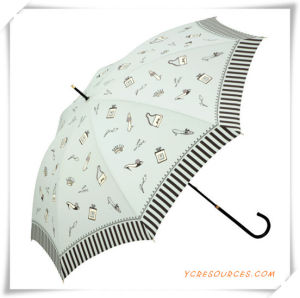 Automatic Cheap Printed Pongee Promotional Straight Umbrella for Promotion pictures & photos