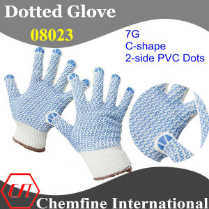 7g White Polyester/Cotton Knitted Glove with 2-Side Blue C-Shape PVC Dots pictures & photos