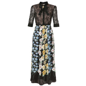 Bright Floral Printed Pleated Ladies Dress with Bowknot &Button &Apparel pictures & photos