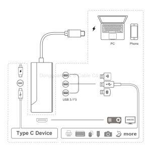 USB C Hub Aluminum Alloy Multi-Port Type C Hub Adapter with 4k HDMI (30Hz) , USB-C Pass Through Charging & up-Downstream Transmiting Data pictures & photos