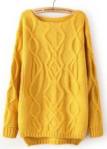 Ladies Long Sleeve Yellow Cable Knitted Pullover Sweater