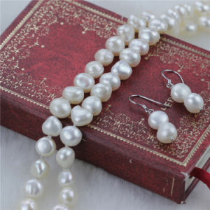 Snh Natural 8mm Baroque Pearl Jewelry Set 925 Silver pictures & photos