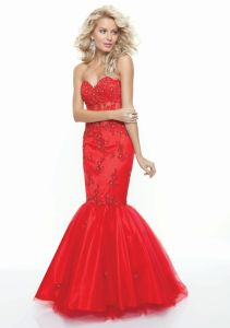 Lace Beading Mermaid Red Prom Dresses (PD3014) pictures & photos