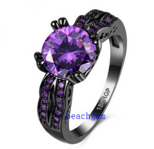 Black Plated Color CZ Jewelry Rings (R0845)