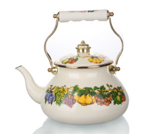 2.5L Russia Enamel Kettle with Porcelain Handle pictures & photos