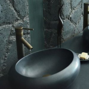 Bathroom Oval Natural Stone Black Granite Vessel Sink pictures & photos