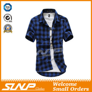 High Quality Men′s Plaid Short Sleeve T-Shirt Clothing