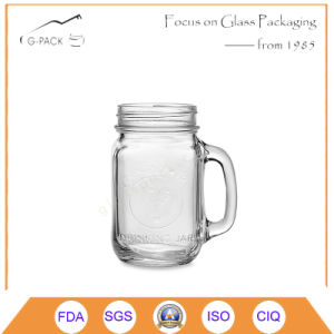 Glass Drinking Mug with Handle and Logo pictures & photos