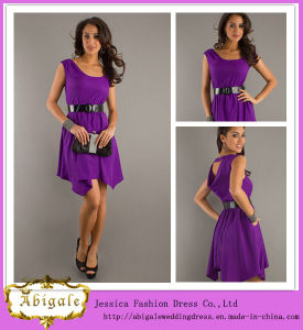 New Elegant Chiffon Purple Cap Sleeve Scoop Sash Ruched Elegant Knee Length Cocktail Dresses Yj0094 pictures & photos