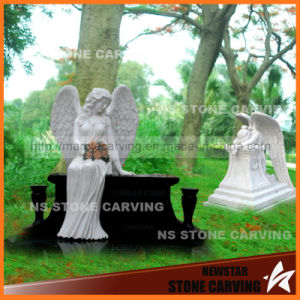 Gravestone with Angels Wings in White Marble Black Granite pictures & photos