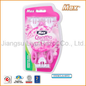Compete with How Selling Plastic Popular New Design for Hypermarket Disposable Shaving Razor (LA-6932) pictures & photos