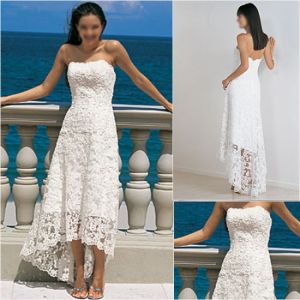 Stock Wedding Dress Strapless Lace Short Country Beach Hi-Low Bridal Gown H018 pictures & photos