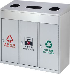 Three Classified Stainless Steel Outdoor Dustbin Supplier (HW-85) pictures & photos