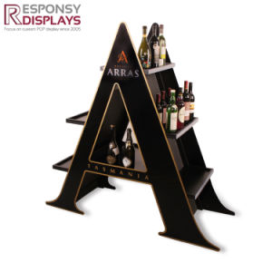 a Character Wine 3D Display Shelf 2-Sided Acrylic & Wood Cell Floor Display Stand pictures & photos