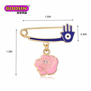 Wholesale Hand Hamsa Enamel Flower Badges Jewelry Safety Pin Brooch pictures & photos