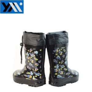 Cheap Kids Blue Printing Warm Rubber Rain Boots with Collar pictures & photos