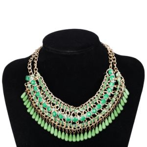 Gold Plated Green Bead Pendant Necklace Fashion Fine Jewelry pictures & photos