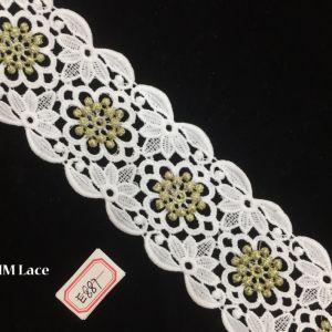 7cm Gold Geometric DOT Flower Wide Lace Fabric Trim for Garment Textile Hme887 pictures & photos