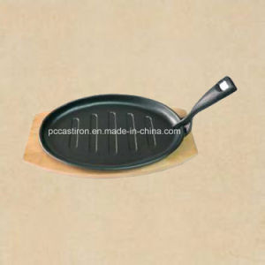 Preseasoned Cast Iron Fajita Sizzler Pan with LFGB Certificate pictures & photos