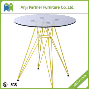 Modern Design 4 Color Steel Base Coffee Table Glass Bar Table (Dale) pictures & photos