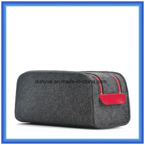 Simple Design Wool Felt Portable Storage Hand Bag, Customized Promotion Packing Carrier Bag/ Cosmetic Bag with Double Zipper (wool content is 70%) pictures & photos