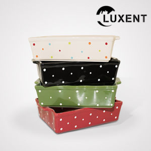 Top Sale Ceramic Wedding Color Rectangle Wavy Shape Cooking Trays pictures & photos
