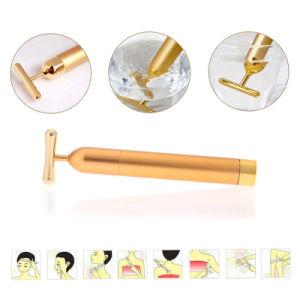 Hot Sell Face Massage Lifting Machines 24K Golden Energy Facial Vibrating Bar T Shape Women Beauty Bar pictures & photos