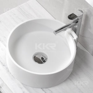 Modern Small Art Resin Stone Solid Surface Bathroom Basin (B1706131) pictures & photos