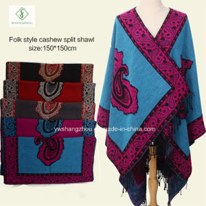 Lady Fashion Thick Split Pashmina Shawl Ethnic Style Square Scarf pictures & photos