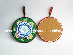 Beautiful Round Shape Ceramic Coaster with Rope for Kitchen/Gift pictures & photos