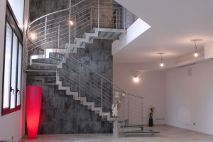 Double Building Hot Sale Curved Glass Stairs Decorate Helical Staircase pictures & photos