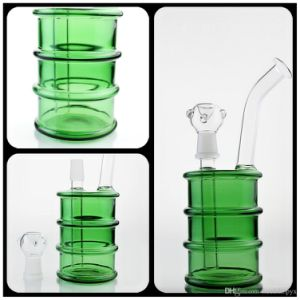 Pipe Glass Pipes Water Pipe with Green Petrol Drum and Percolator Recycler Glass Smoking Pipe with Hamburger and Percolator Recycler