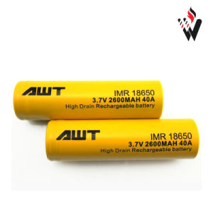 Awt 18650 Li-ion Battery 18650 2600 mAh 40A Rechargeable Battery pictures & photos