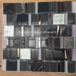 European Style Black Glass and Marble Mosaic Tile for Wall pictures & photos