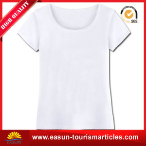 Custom 100% Cotton White Round Neck T-Shirt with Wholesale Price pictures & photos