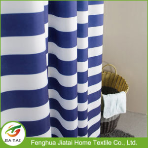 Custom Luxury Blue and White Striped Shower Curtain pictures & photos