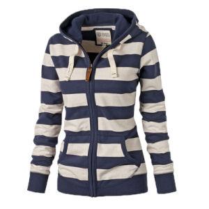 Custom Women Cotton Fleece Fashion Yarn Dye Stripe Hoodies Sports Zip up Top Clothing (AL044)