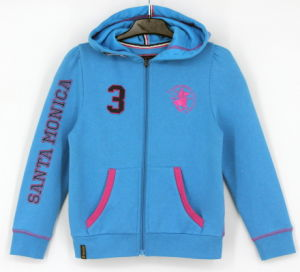 Ss17 Girls Top Fleece Zip Through Sweatshirt Hoodies Top Clothes pictures & photos