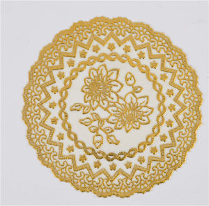 20cm Round Gold PVC Lace Doily Popular Use Home/Coffee pictures & photos