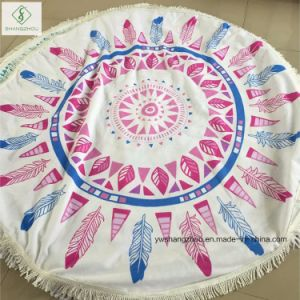 Wholesale Qualified Microfiber Printed Round Beach Towel with Tassel pictures & photos