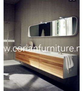 New Design Wood Corian Wall Hung Bathroom Vanity with Sinks pictures & photos