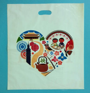 Custom Logo Printing Plastic Die Cut Poly Handle Bag with Bottom Gusset pictures & photos
