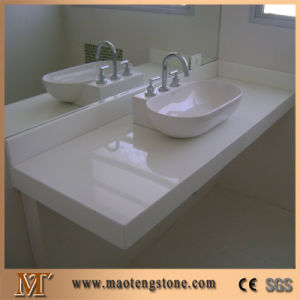 Popular Topmounted Sink Cutout White Crystallized Glass Stone Vanity Tops pictures & photos