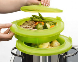 Double Wall Plastic Platinum Silicone Kitchenware Food Steamer pictures & photos